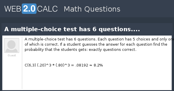 view question a multiple choice test has 6 questions