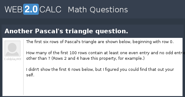 View question - Another Pascal's triangle question