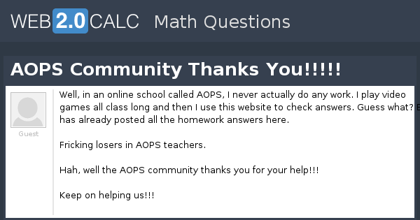 View question - AOPS Community Thanks You!!!!!
