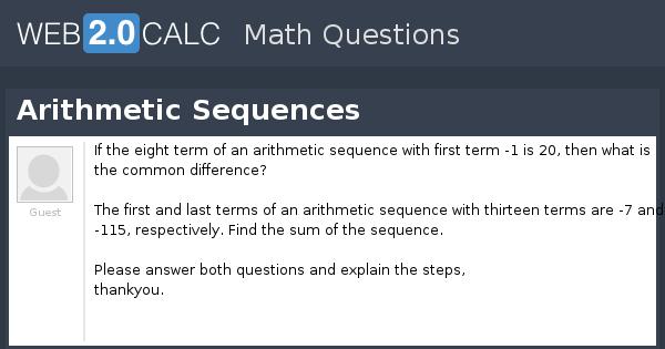 view question arithmetic sequences