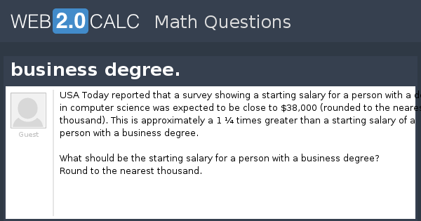 View Question Business Degree