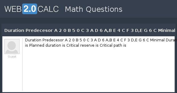 critical path questions