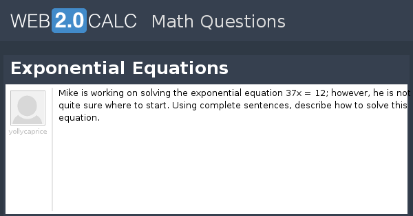 View question - Exponential Equations