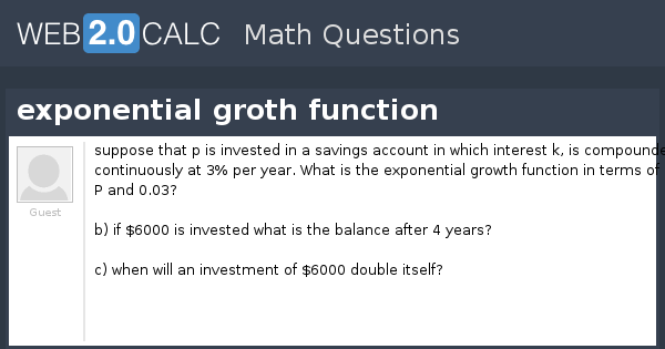 View question - exponential groth function