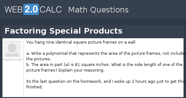 View question - Factoring Special Products