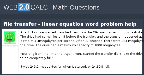 View question - file transfer - linear equation word problem