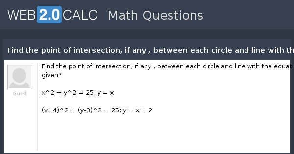 how to find point of intersection of circle and line
