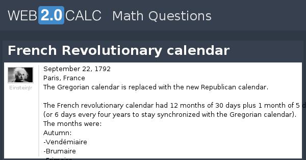 View Question French Revolutionary Calendar