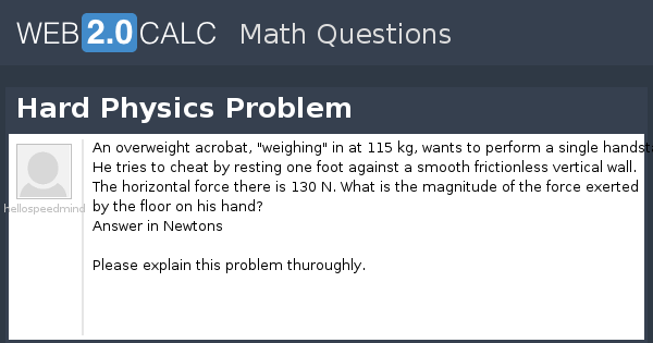 View question - Hard Physics Problem