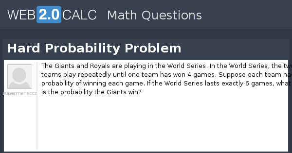 View question - Hard Probability Problem