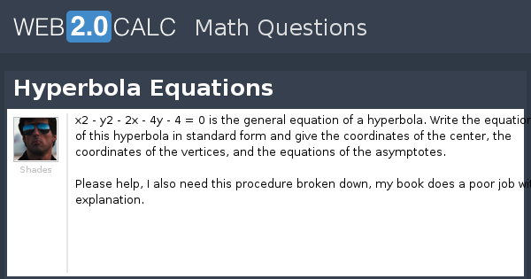 View Question Hyperbola Equations