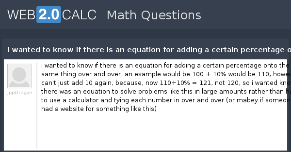 View question - i wanted to know if there is an equation for