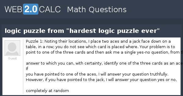 View question - logic puzzle from