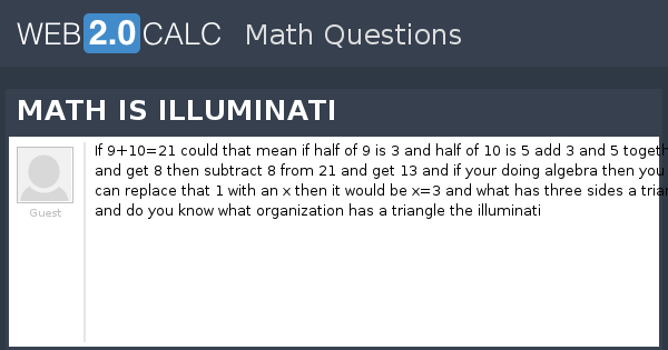 View question - MATH IS ILLUMINATI
