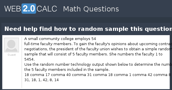 View question - Need help find how to random sample this question