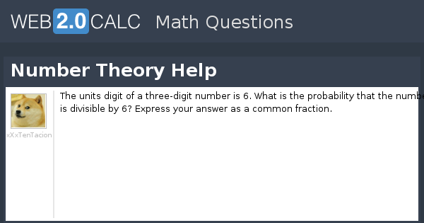 View question - Number Theory Help