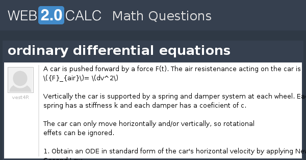 View Question Ordinary Differential Equations