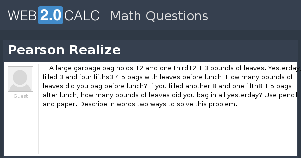 View question - Pearson Realize