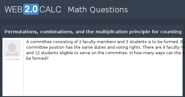 View question - Permutations, combinations, and the