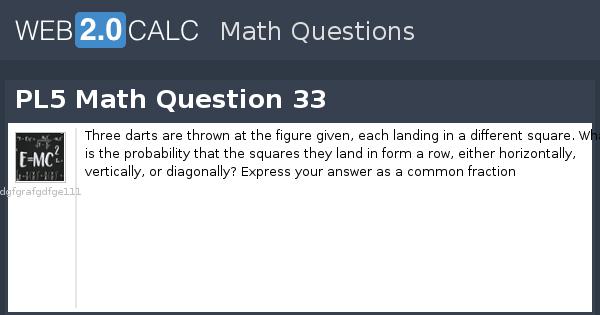 View question - PL5 Math Question 33