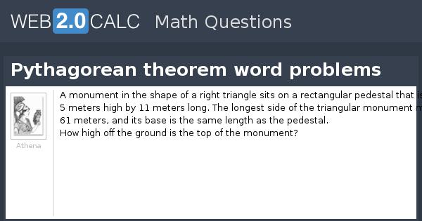 Word problems on Pythagorean Theorem | Application of Pythagoras ...