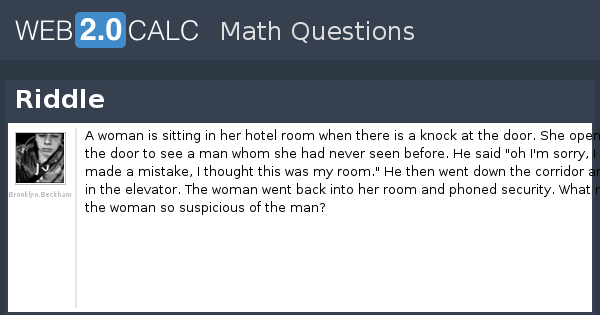 Riddle About Woman And Hotel Room
