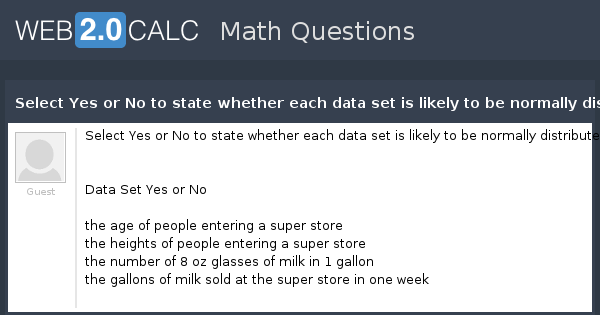 View question - Select Yes or No to state whether each data