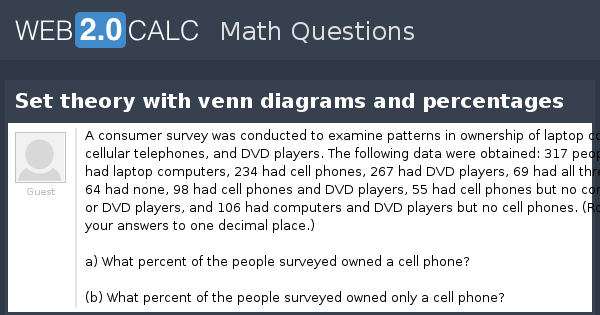 View question set theory with venn diagrams and percentages ccuart