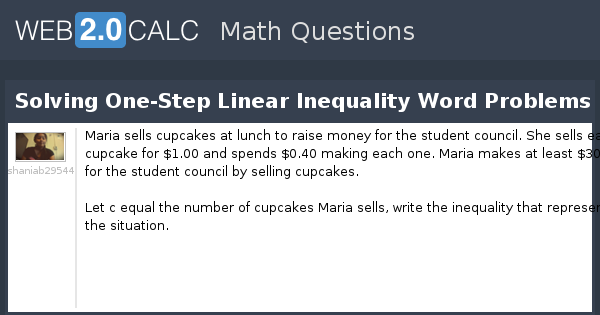 View question Solving OneStep Linear Inequality Word Problems – Linear Inequality Word Problems Worksheet