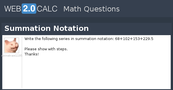 View question - Summation Notation