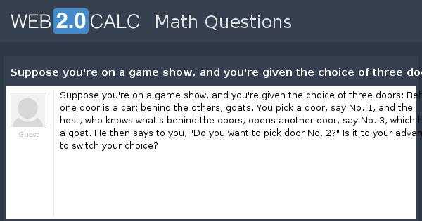 Game Show Three Doors Goats Car