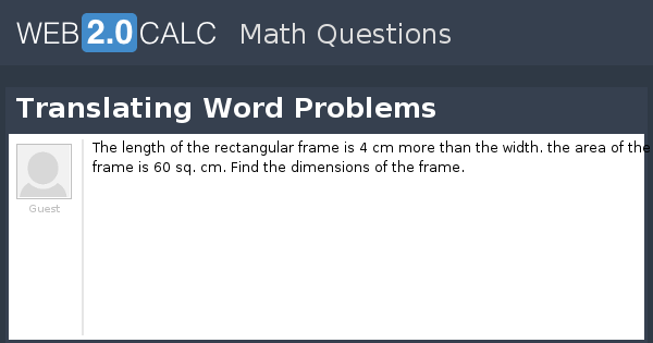 View question - Translating Word Problems