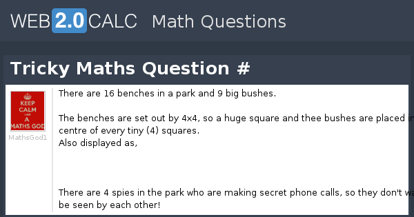 View question - Tricky Maths Question #