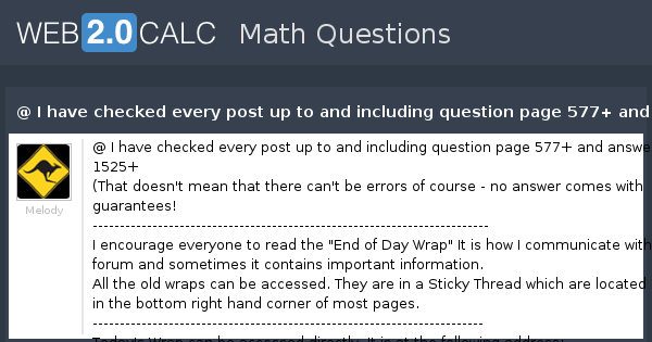 View question - @ I have checked every post up to and ...
